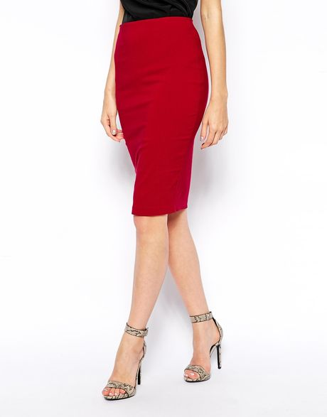 asos high waisted pencil skirt in berry lyst