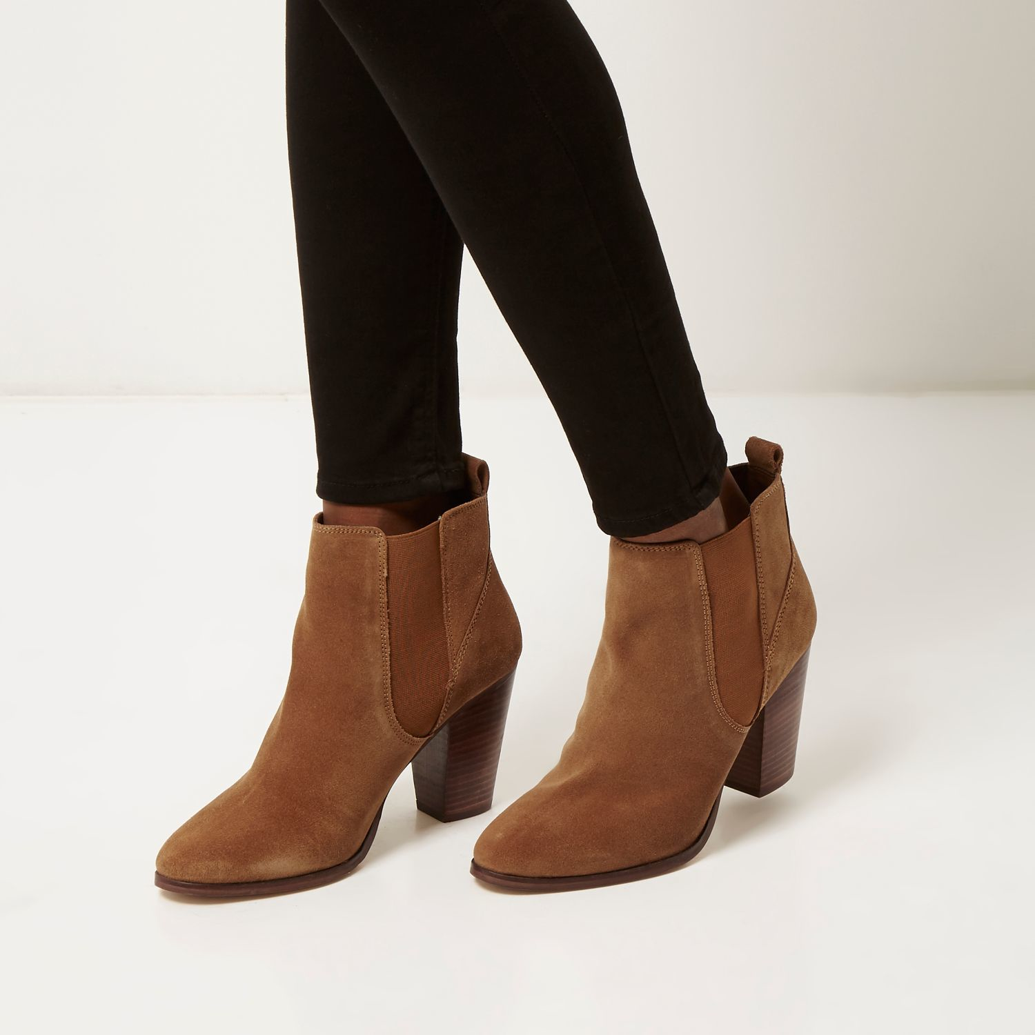 9d797d4125a6 River Island Brown Suede Heeled Ankle Boots in Brown - Lyst