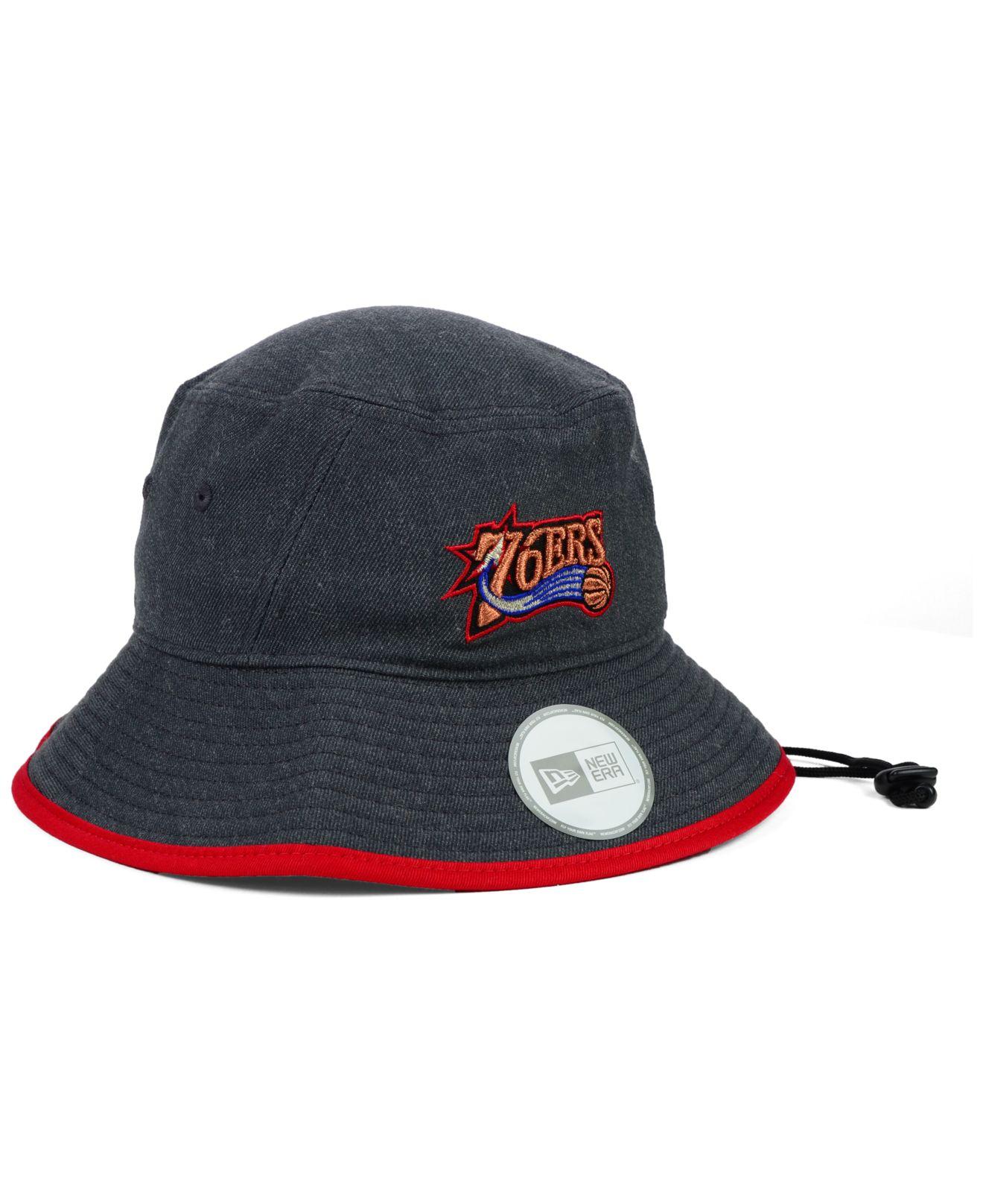 c4451aa7ab16eb ... switzerland lyst ktz philadelphia 76ers dark heather tipped bucket hat  in black for men deda4 2622b