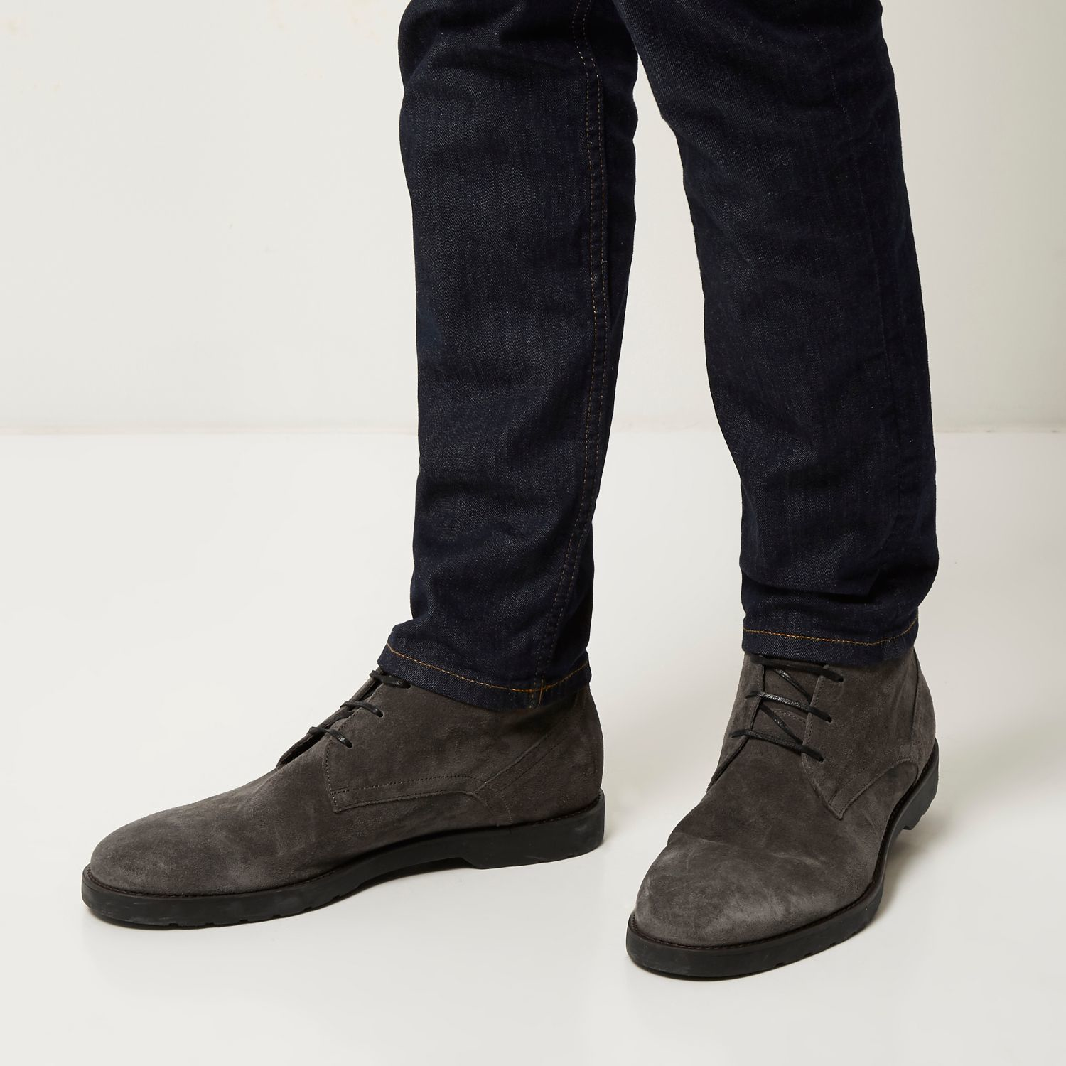 river island grey suede chunky chukka boots in gray