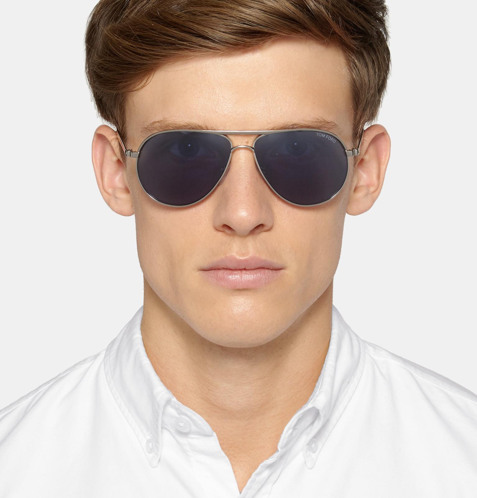 lyst tom ford marko aviator style silver tone sunglasses. Black Bedroom Furniture Sets. Home Design Ideas