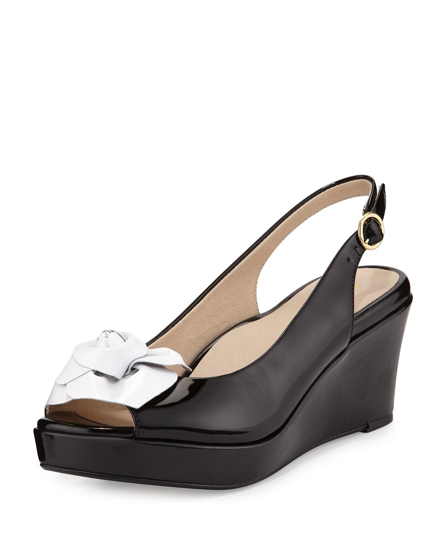 2384912985dc Lyst - Taryn Rose Star Patent Flower Slingback Wedge Sandal in Black
