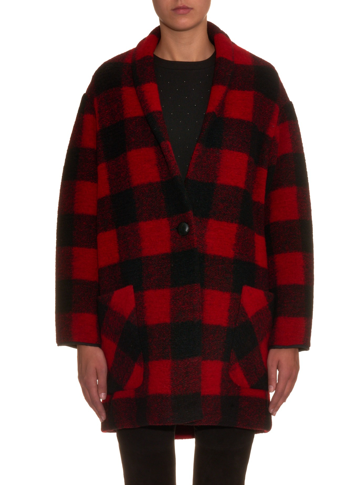 Lyst - Étoile Isabel Marant Gabrie Checked Coat in Black