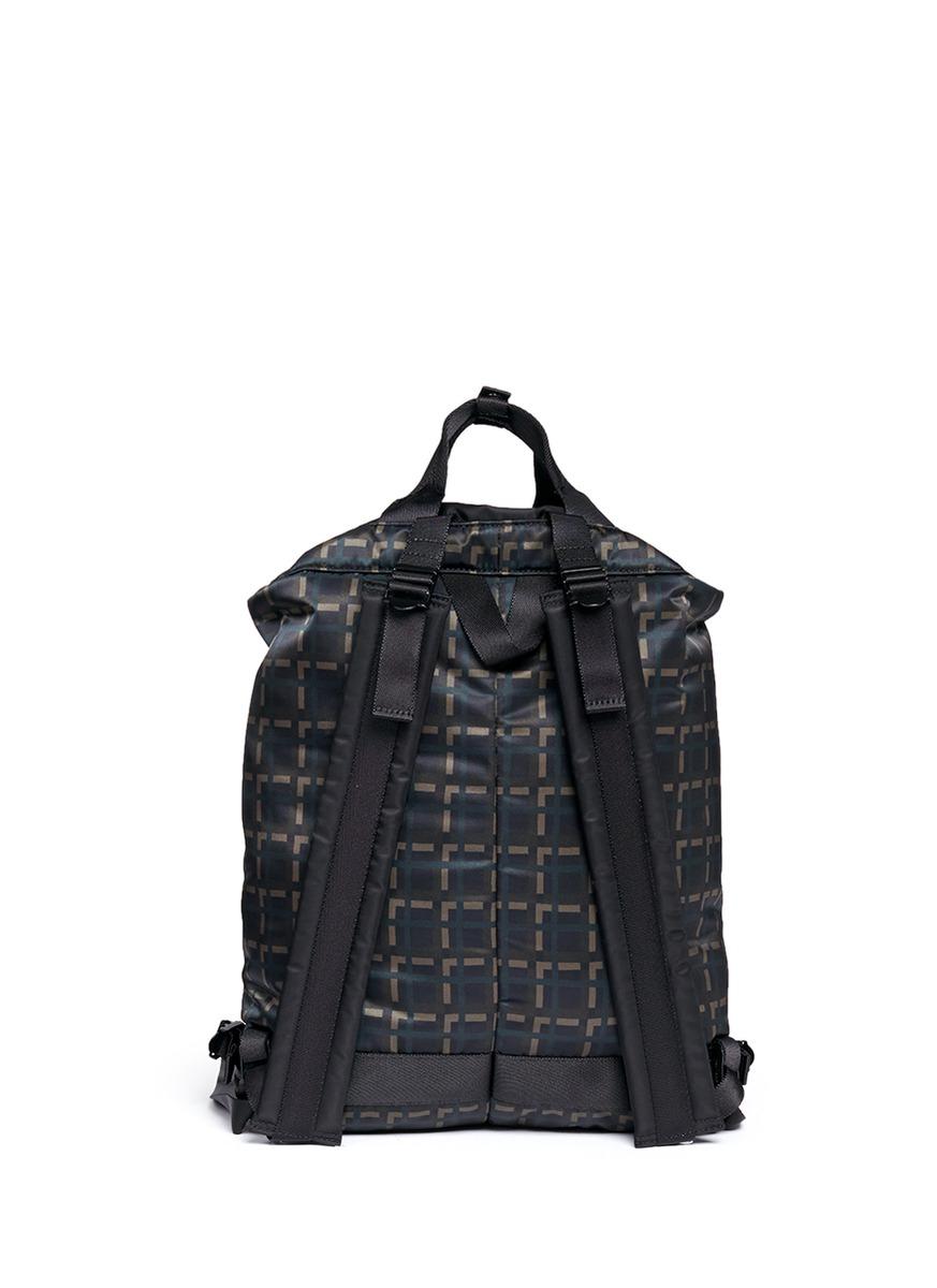 62fb94ca43 Lyst - Marni X Porter Check Print Techno Fabric Drawstring Backpack ...