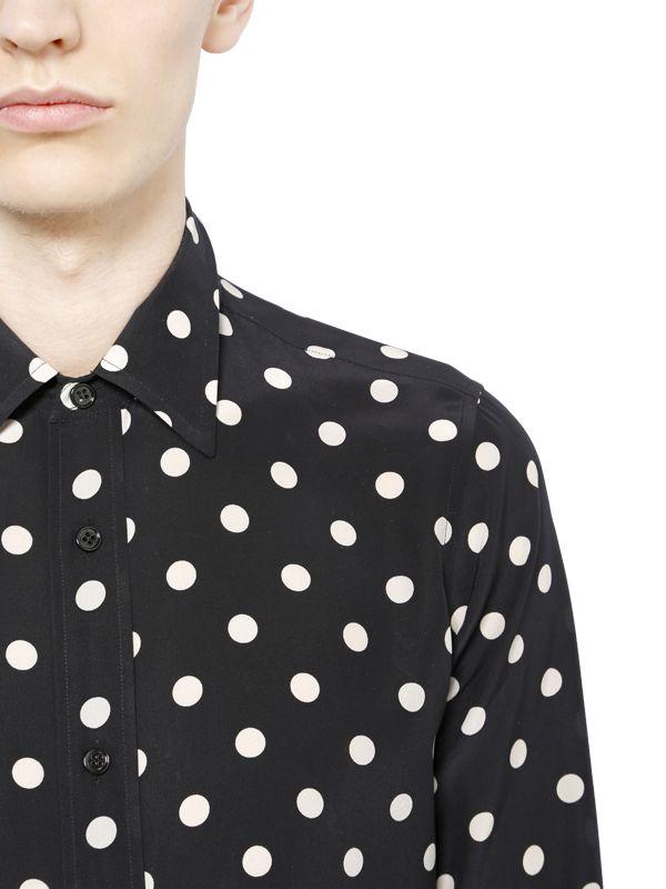af1b9ac2c7f6f Lyst - Saint Laurent Polka Dot Silk Crepe De Chine Shirt in Black ...
