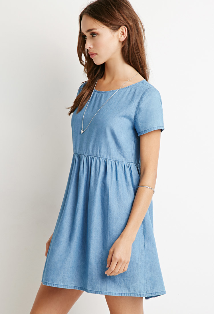 Lyst Forever 21 Chambray Babydoll Dress In Blue