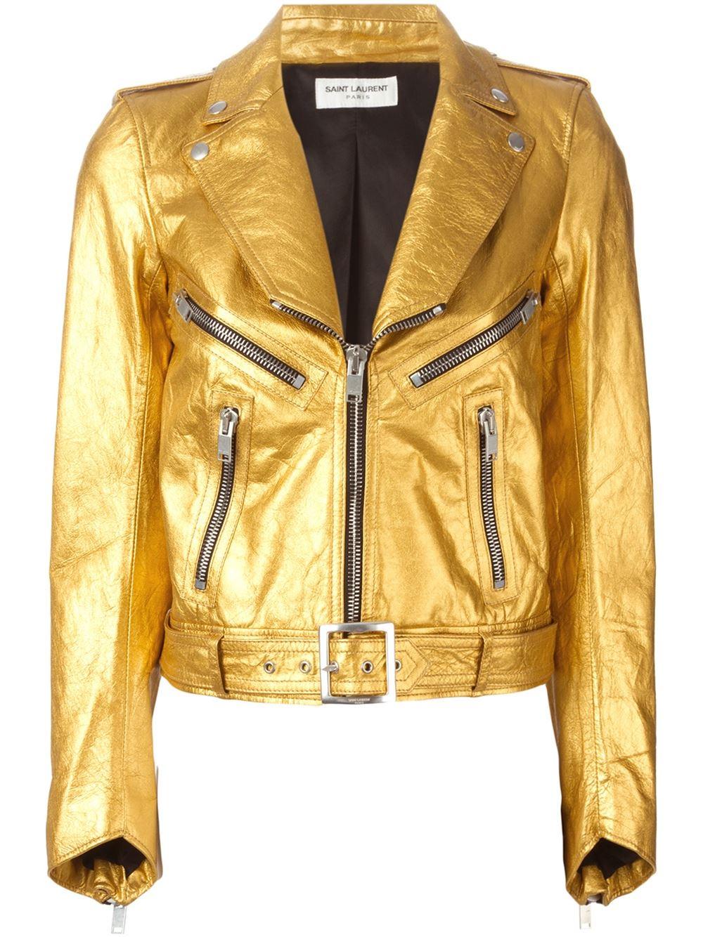 Saint laurent metallic gold leather biker jacket