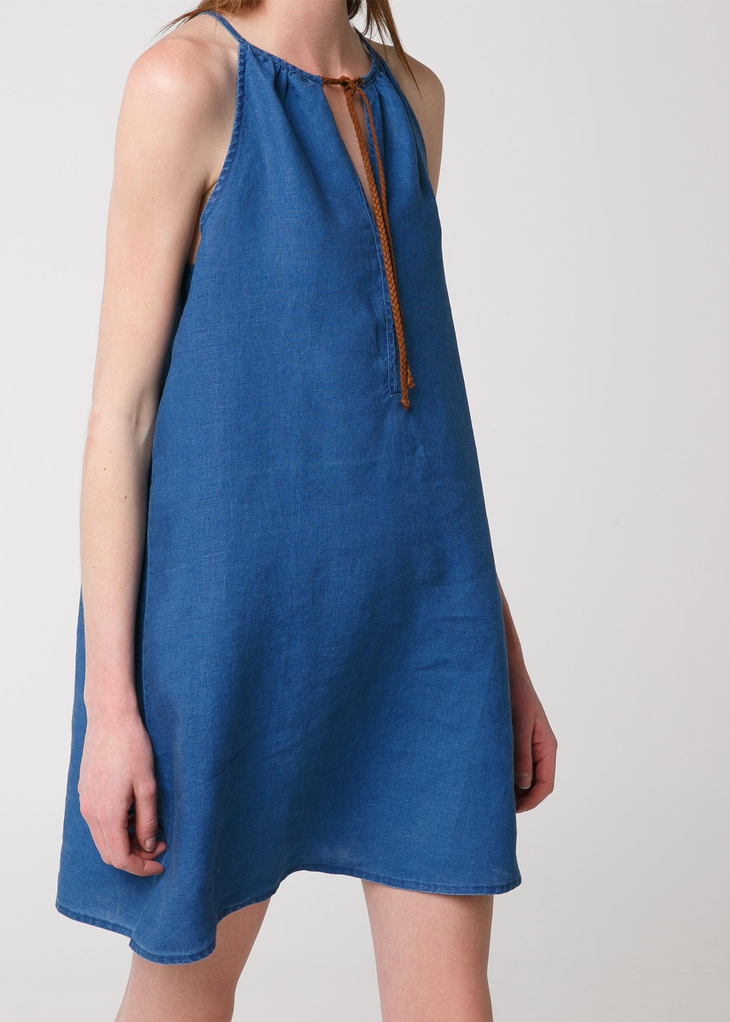 Mango Linen Halter Dress in Blue | Lyst