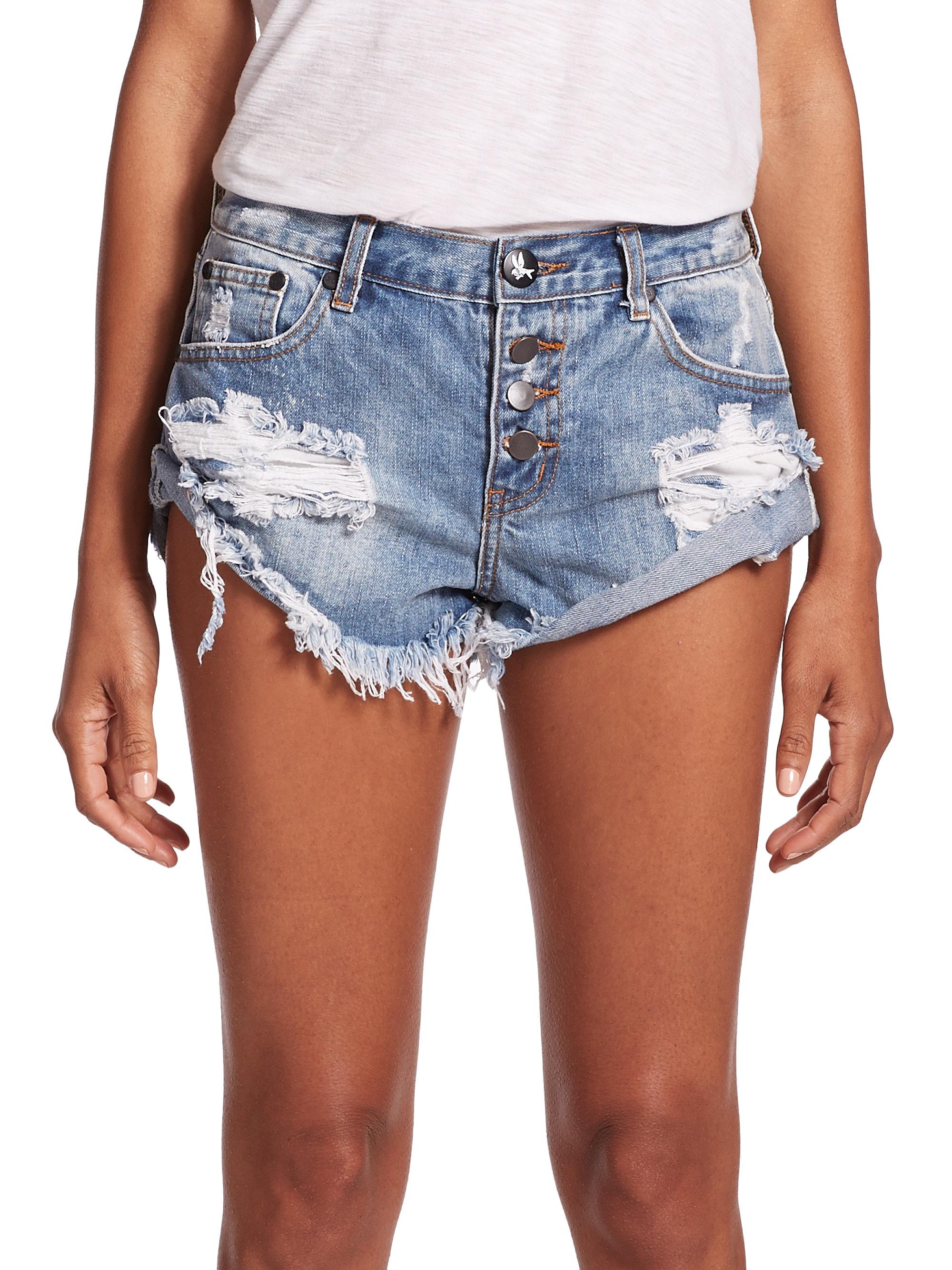 929406f6273a Lyst - One Teaspoon Bandits Distressed Cut-off Denim Shorts in Blue