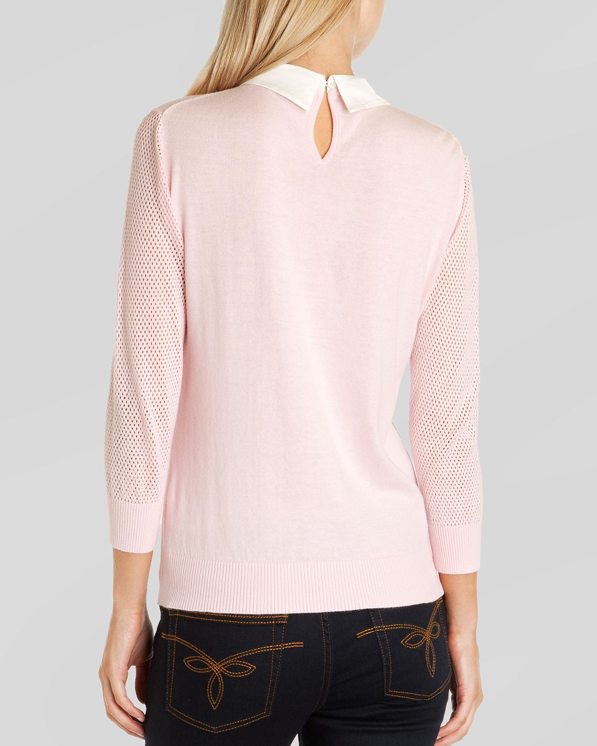 Ted baker Sweater - Helane Embellished Collar in Pink | Lyst