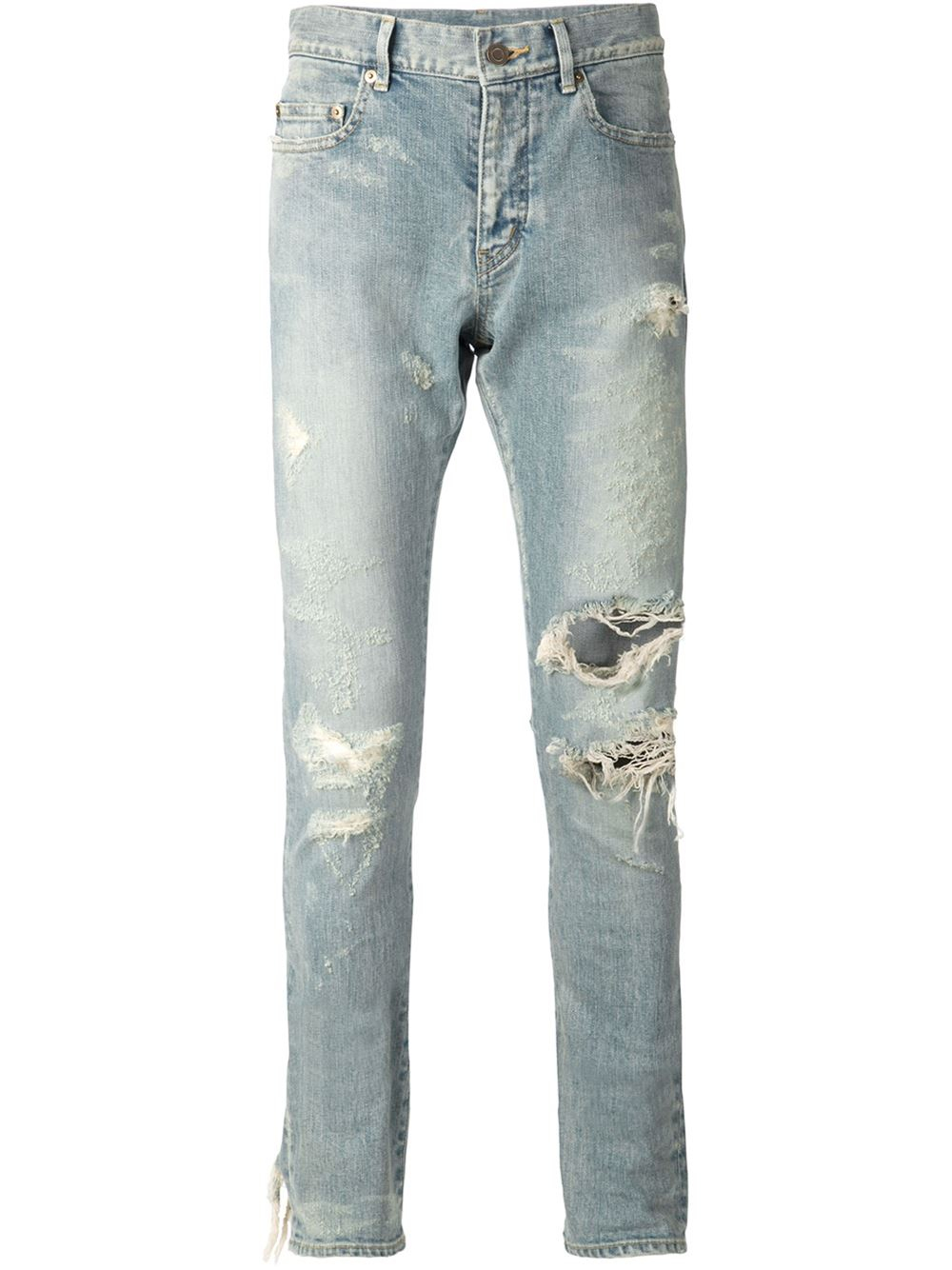 lyst saint laurent distressed skinny jeans in blue for men. Black Bedroom Furniture Sets. Home Design Ideas