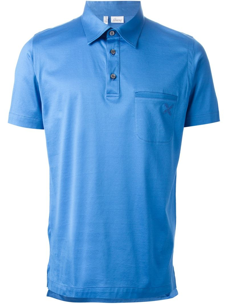 Lyst brioni patch pocket polo shirt in blue for men for Two pocket polo shirt