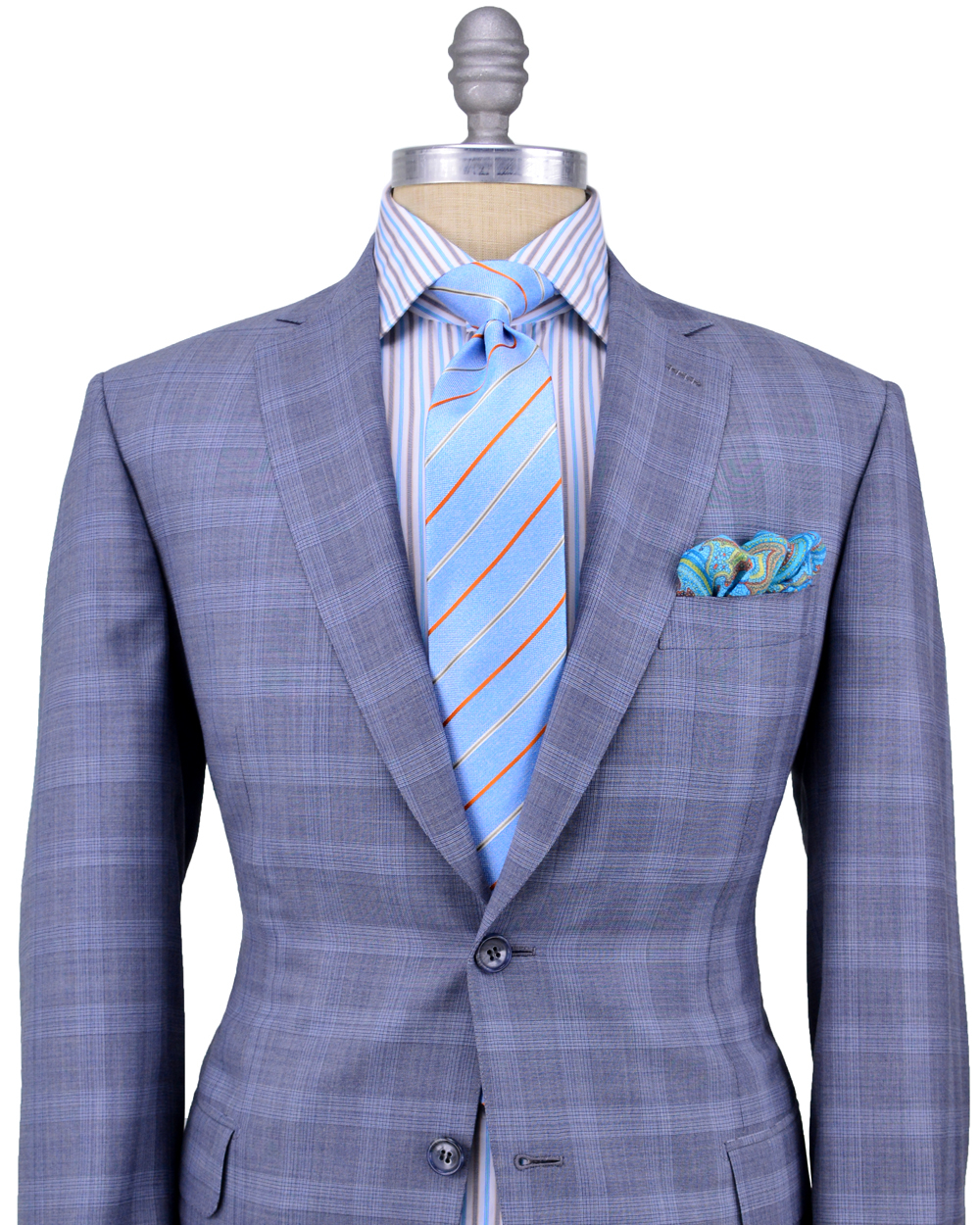 Brioni Grey and Blue Glen Plaid Suit in Gray for Men | Lyst