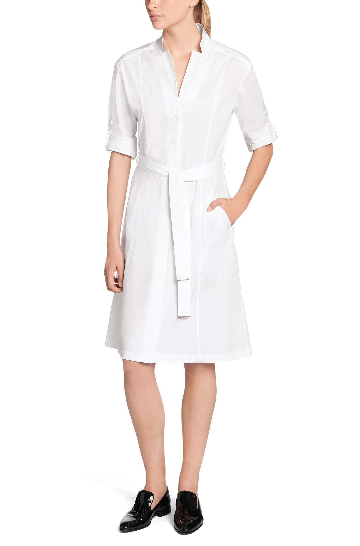 def7f6c30 Lyst - BOSS 'doctina' | Stretch Cotton Belted Shirt Dress in White
