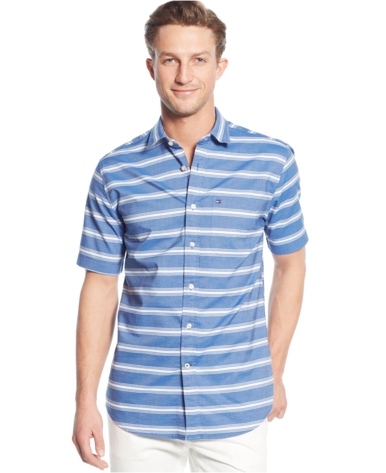 Lyst tommy hilfiger big tall twill horizontal striped for Horizontal striped dress shirts men