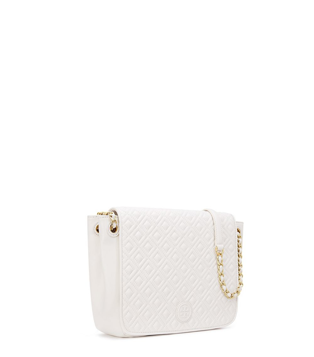 e479aba8dac4 Lyst - Tory Burch Marion Quilted Small Flap Shoulder Bag in White