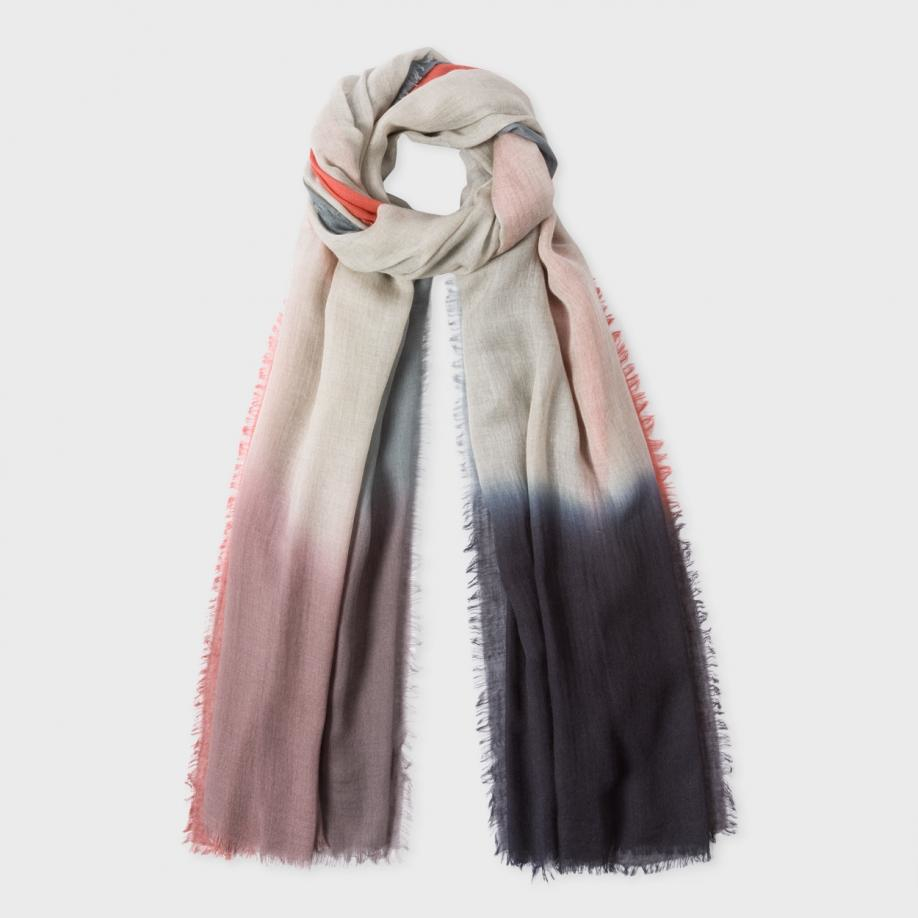 paul smith s grey dip dye wool blend scarf in gray