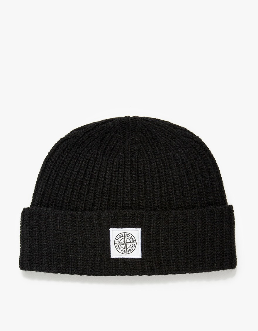 Stone island Ribbed Lambs Wool Beanie in Black for Men - Lyst