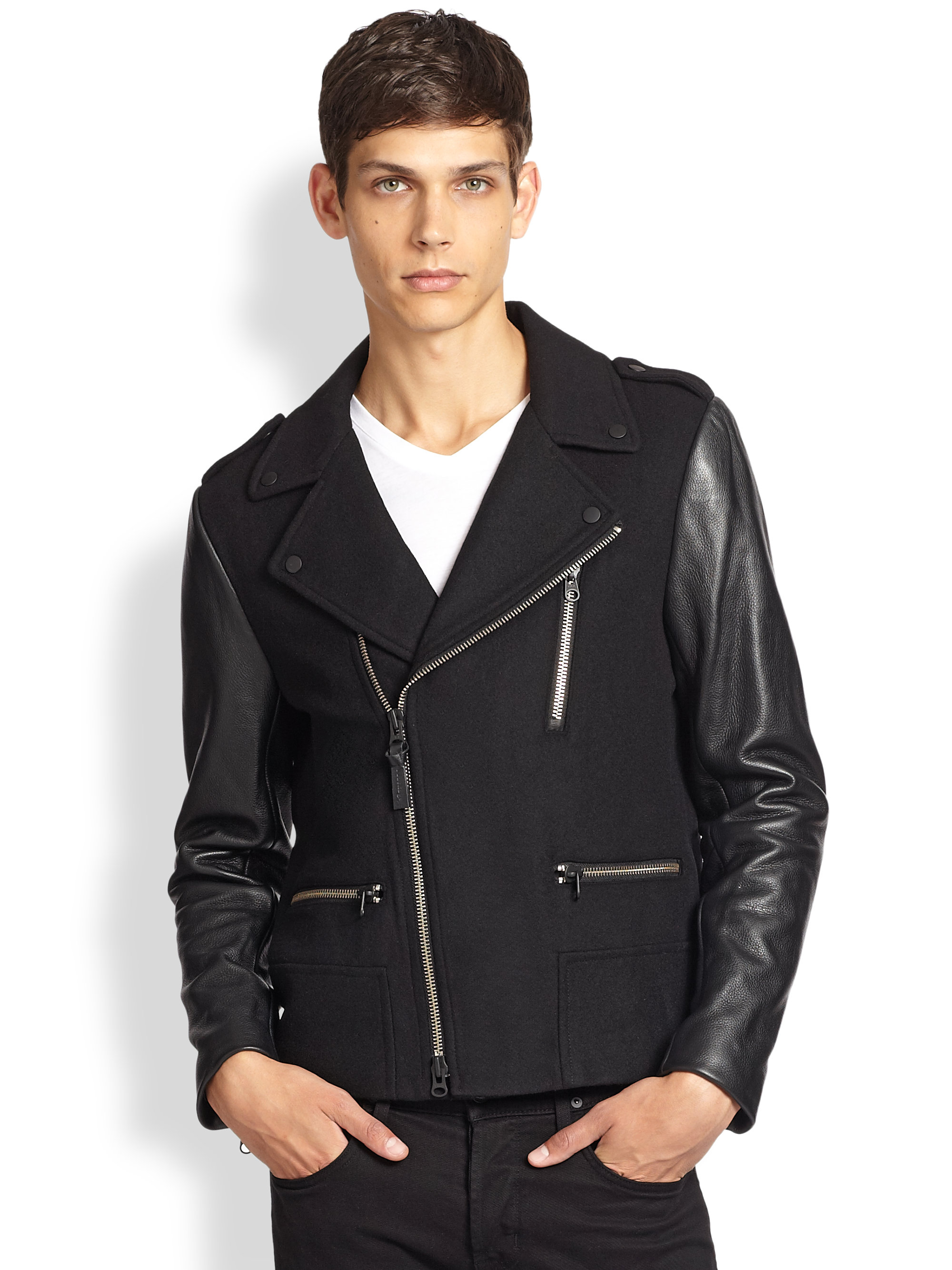 a043a2f9 new zealand mackage jacket leather sleeves mens 431e7 8c2bc