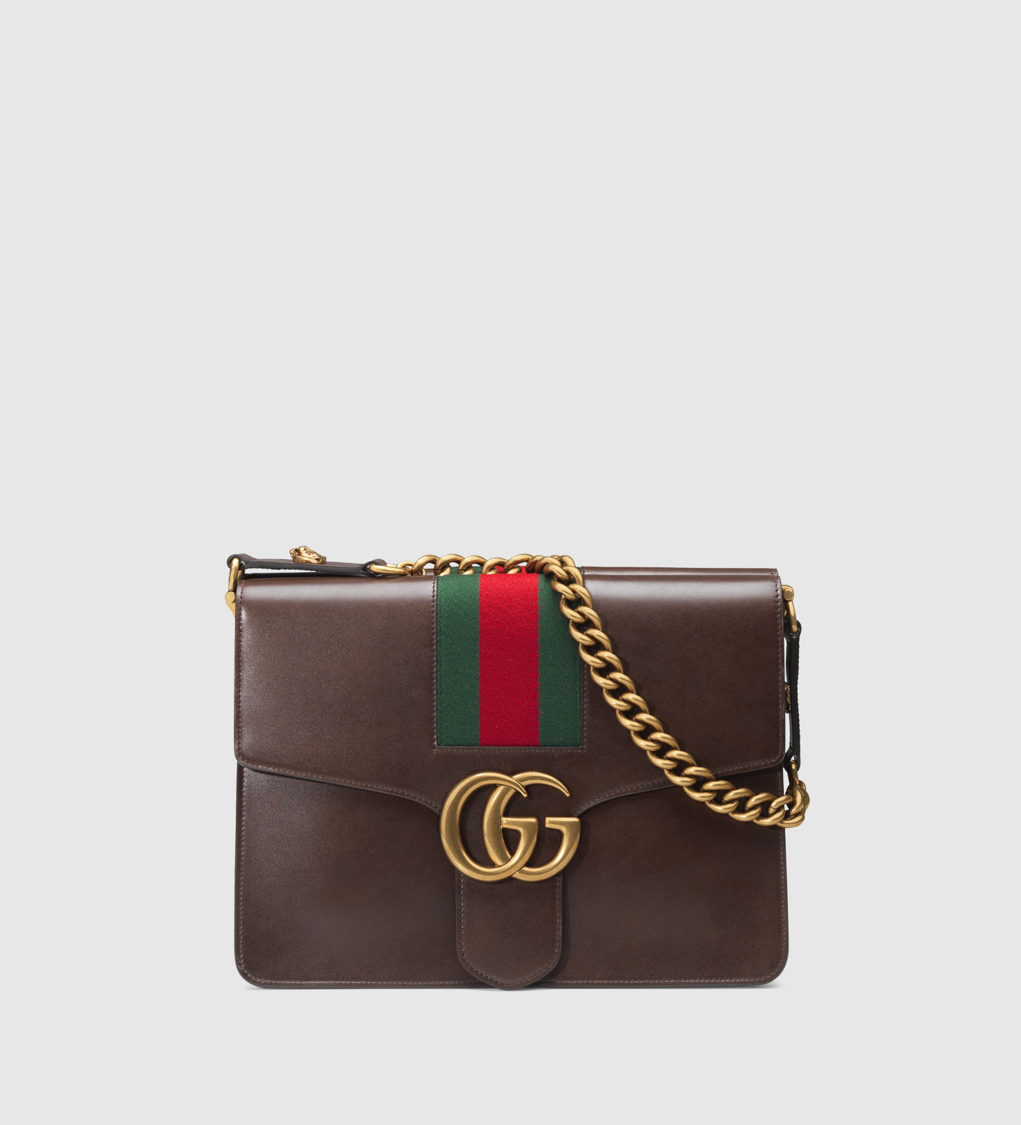 Gucci GG Marmont Leather Shoulder Bag in Brown (dark brown ...