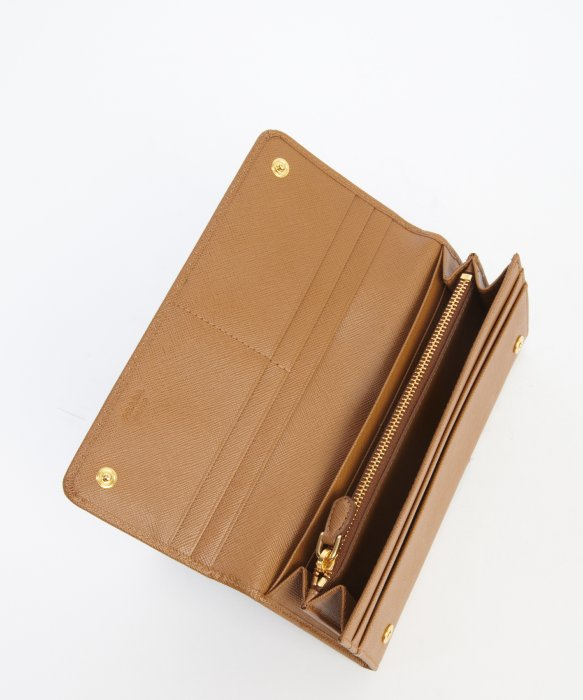 Prada Camel Leather Logo Stamp Continental Wallet in Beige (camel ...
