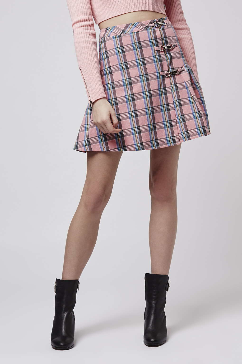 Lyst - Topshop Plaid Tennis Skirt By Unif in Pink