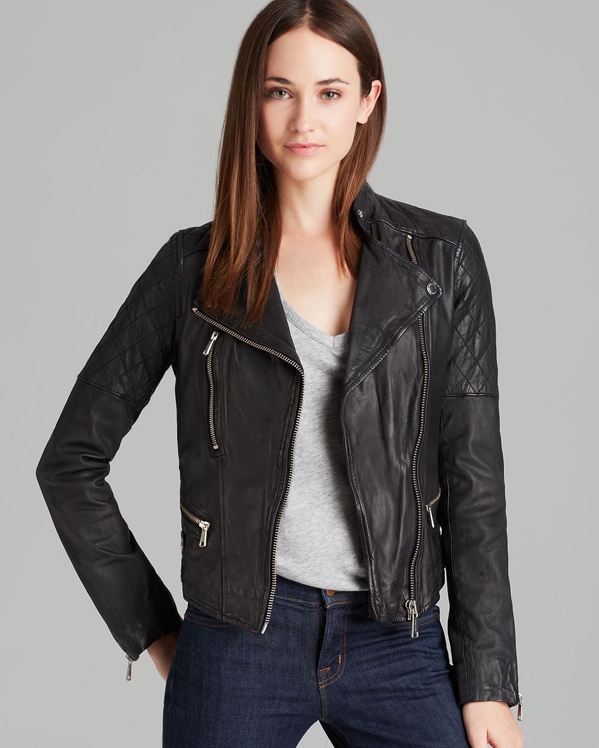 Andrew marc Moto Leather Jacket Jessi in Black