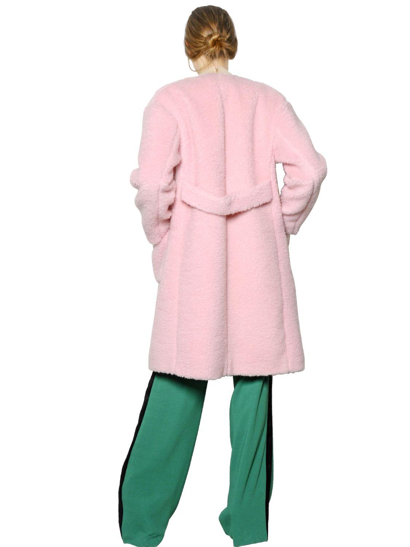 Rochas Plush Wool Blend Coat in Pink for Men | Lyst