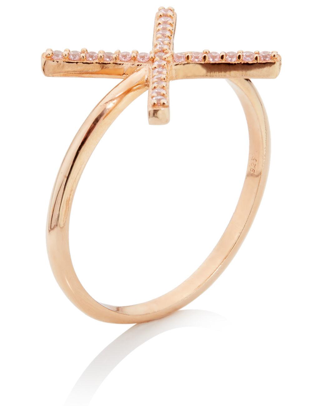 aamaya by priyanka rose gold vermeil x ring in gold rose On rose gold vermeil jewelry