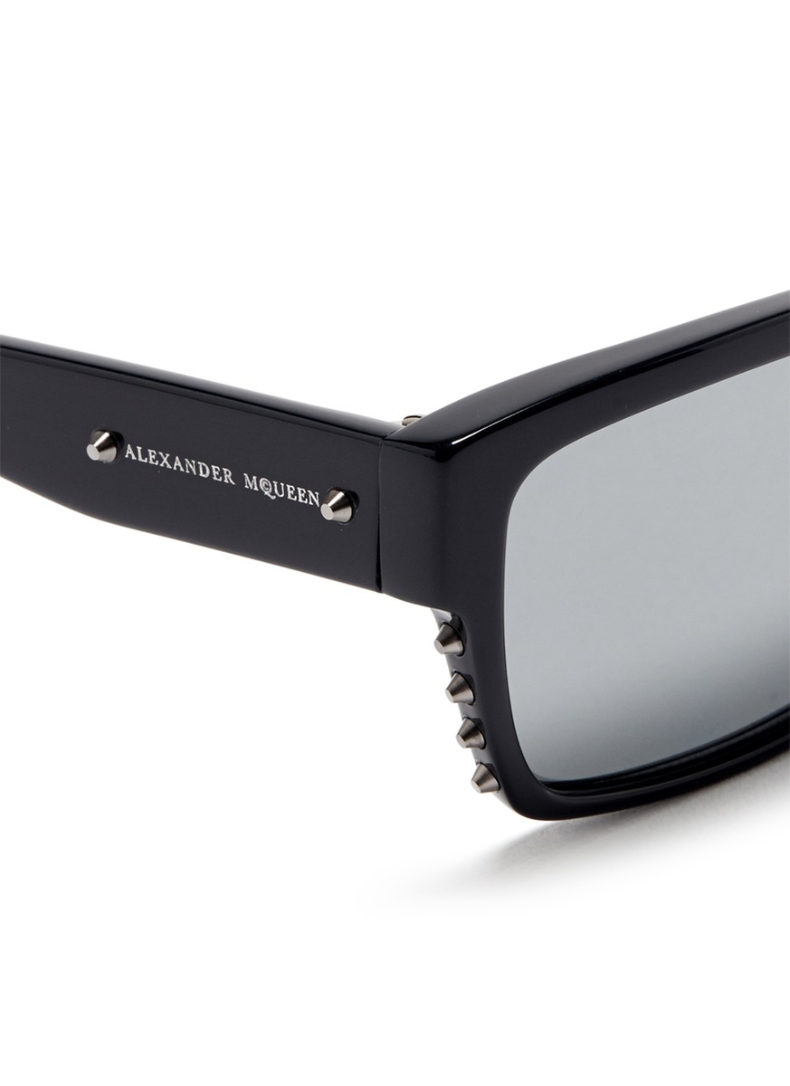 Alexander Sunglasses  alexander mcqueen stud rectangle frame acetate sunglasses in black