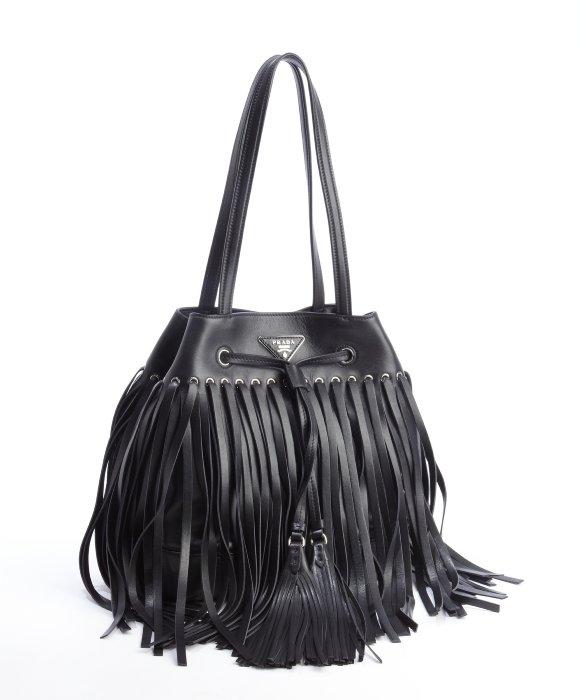 1dd29ce5be100d ... best price lyst prada black leather fringe top handle bucket bag in  black e4662 4df29