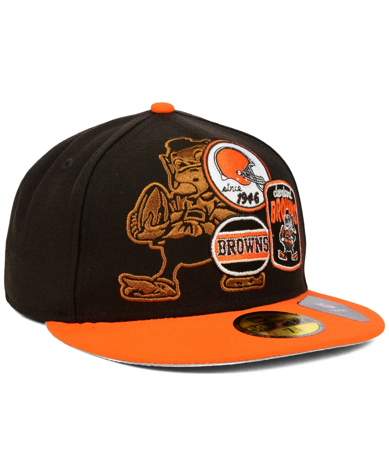 Men's Cleveland Browns Historic Logo New Era Brown NFL Draft 59FIFTY Reflective Fitted Hat