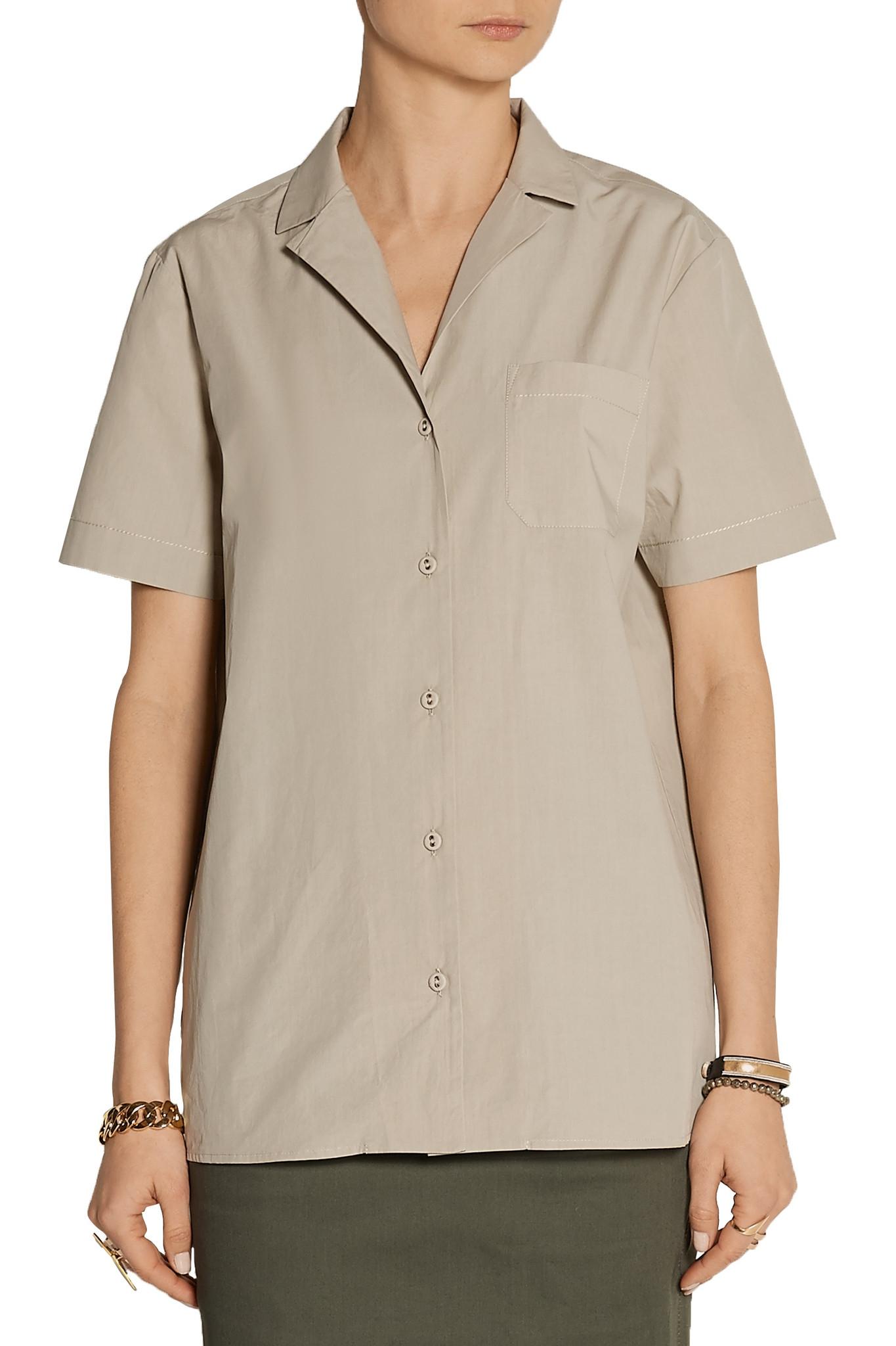 Tomas maier cotton poplin shirt in beige lyst for What is a poplin shirt