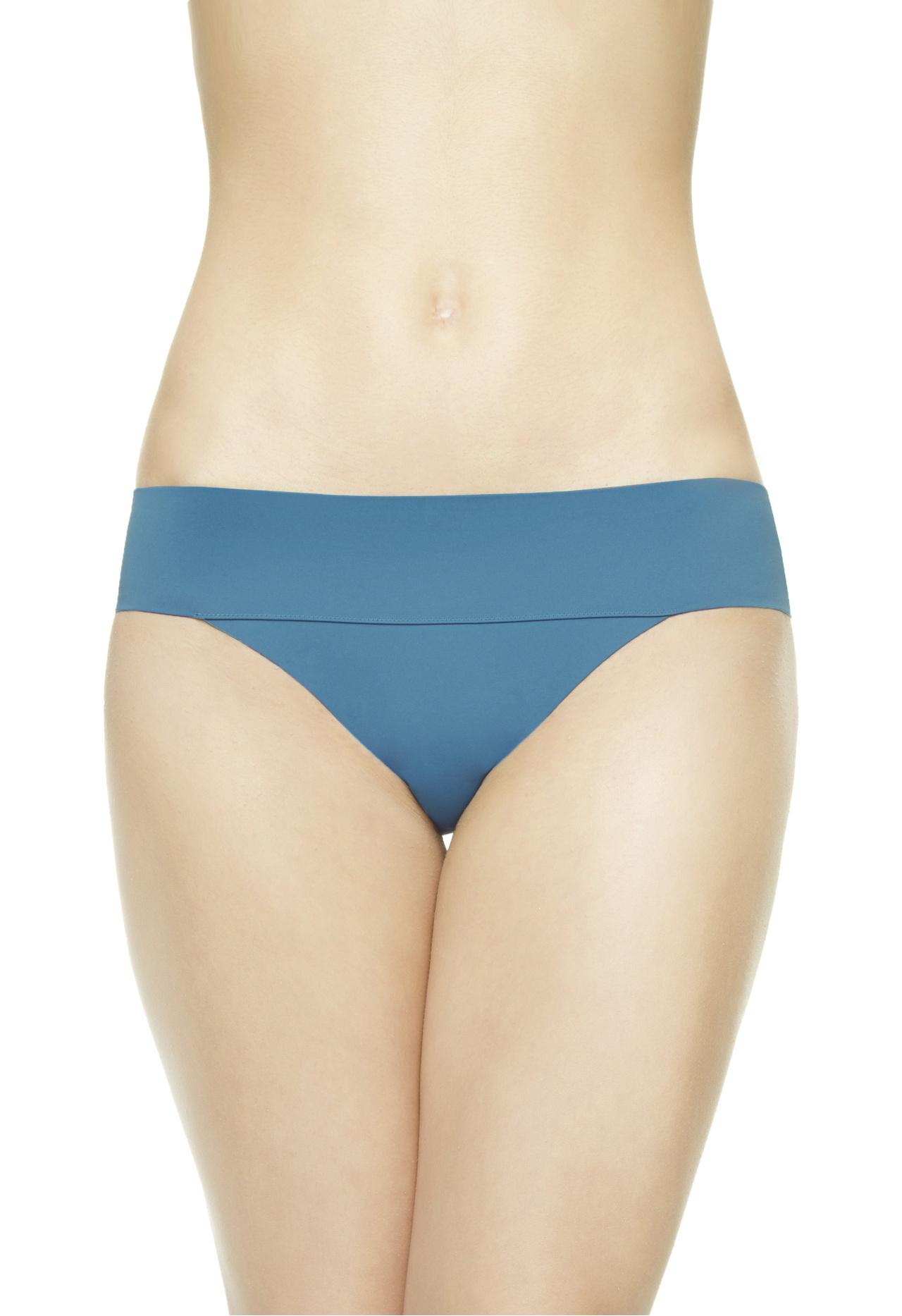 la perla mid rise bikini briefs in blue dark blue lyst