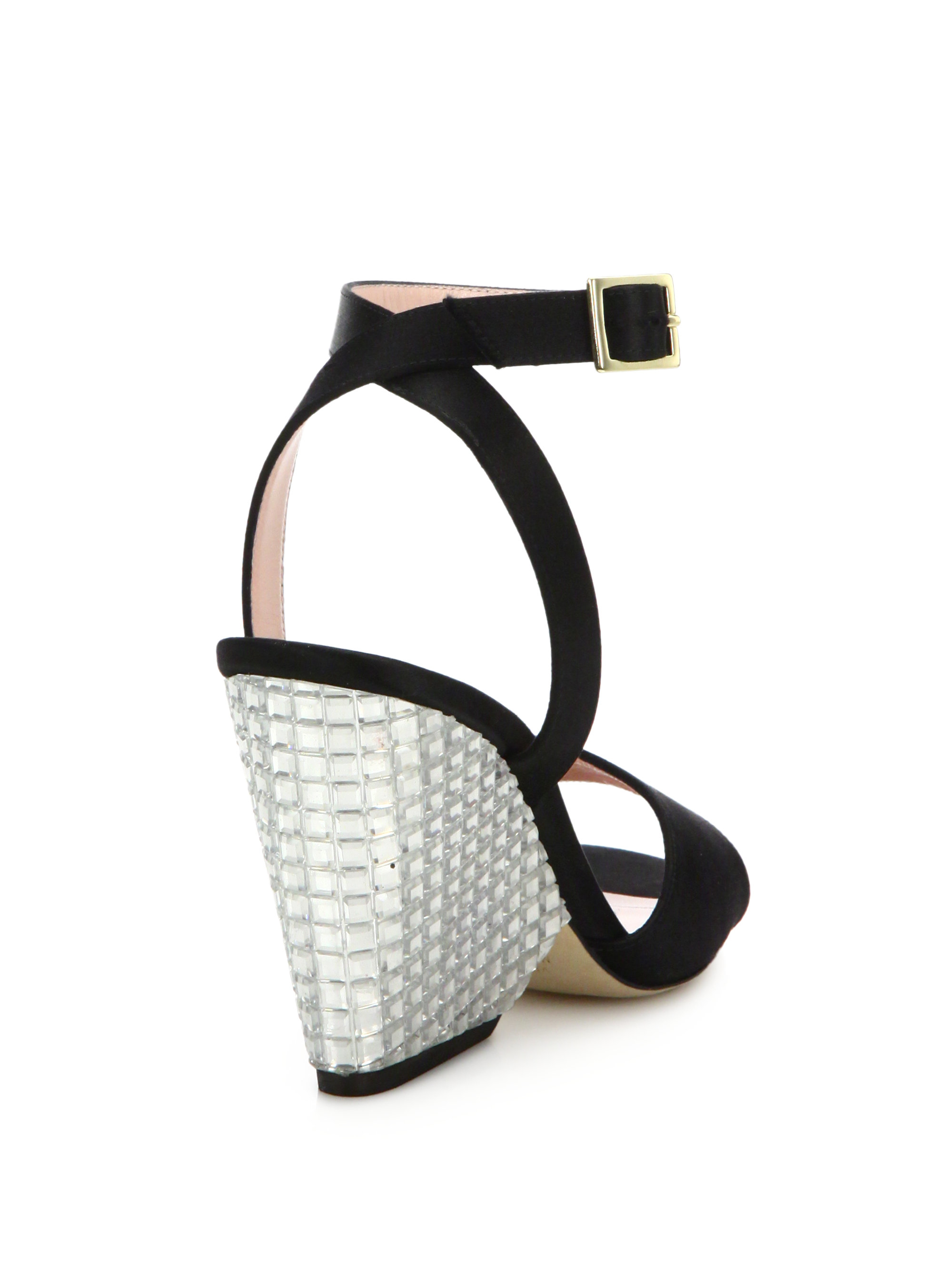 77e06755bc91 Lyst - Kate Spade Isadora Satin Jeweled Wedge Sandals in Black