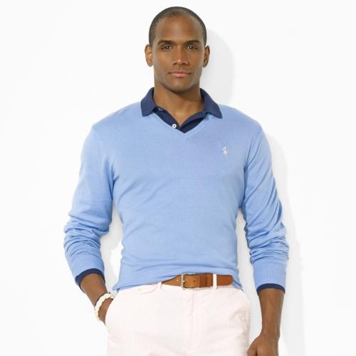Lyst Polo Ralph Lauren Pima Vneck Pony Sweater In Blue