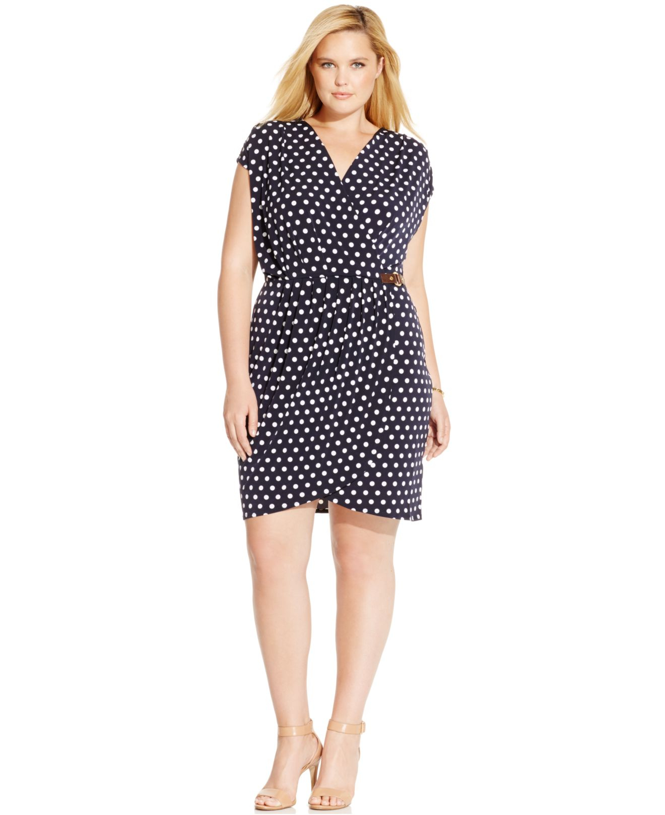 Michael kors Michael Plus Size Polka-Dot Faux-Wrap Dress in Blue ...