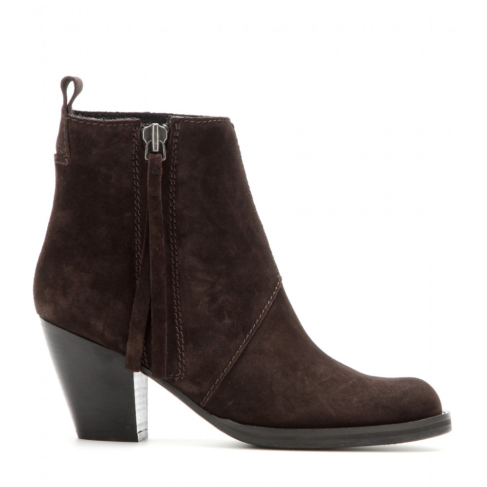 acne studios pistol suede ankle boots in brown lyst