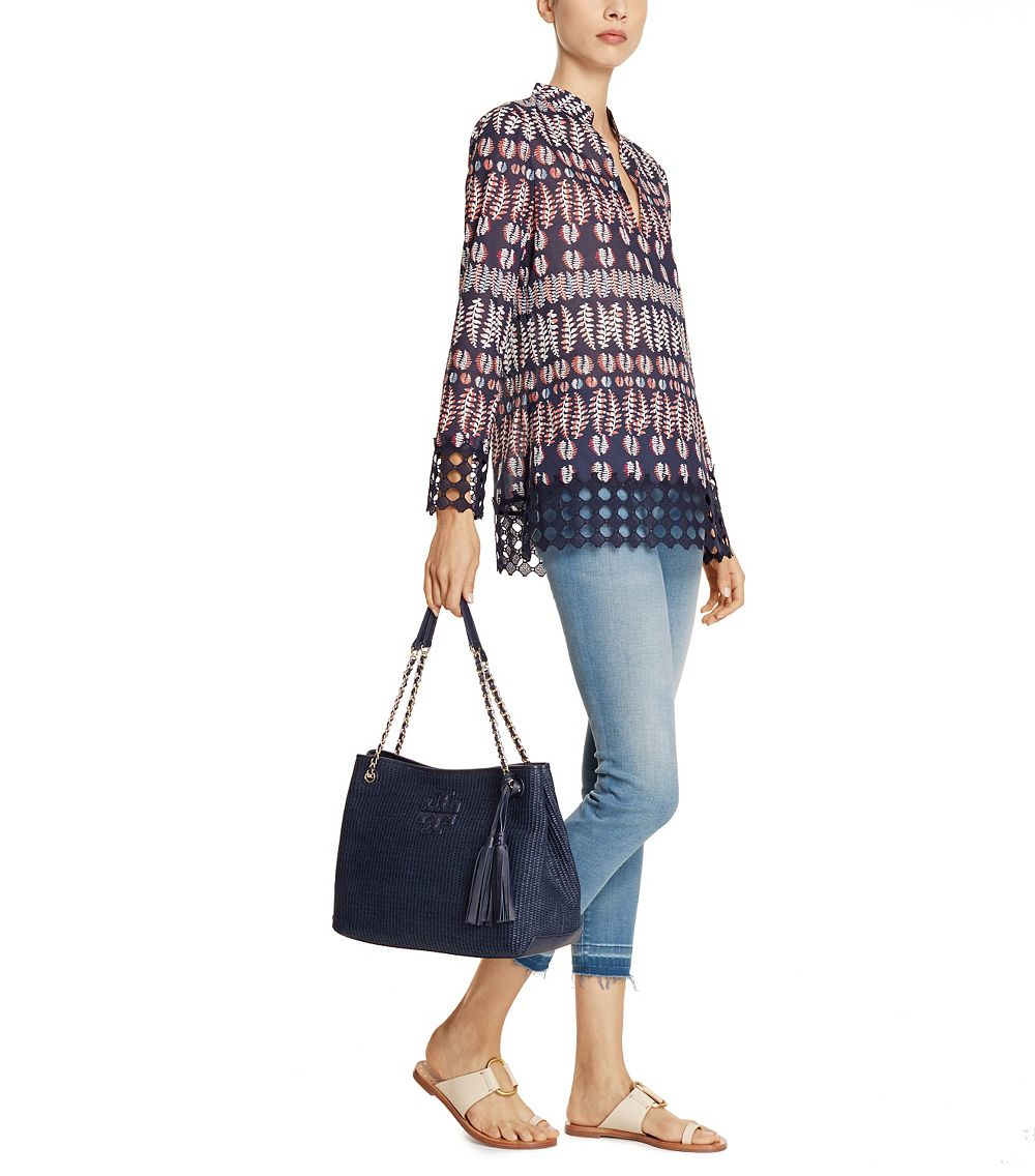 6772ac1bd6c1 Lyst - Tory Burch Thea Straw Center-zip Tote in Blue