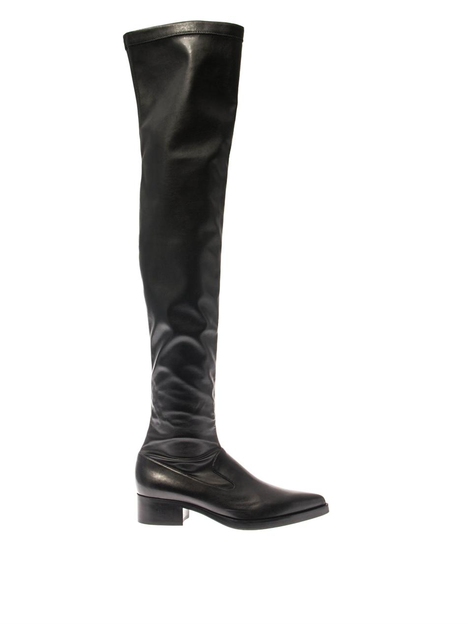 stella mccartney faux leather thigh high boots in