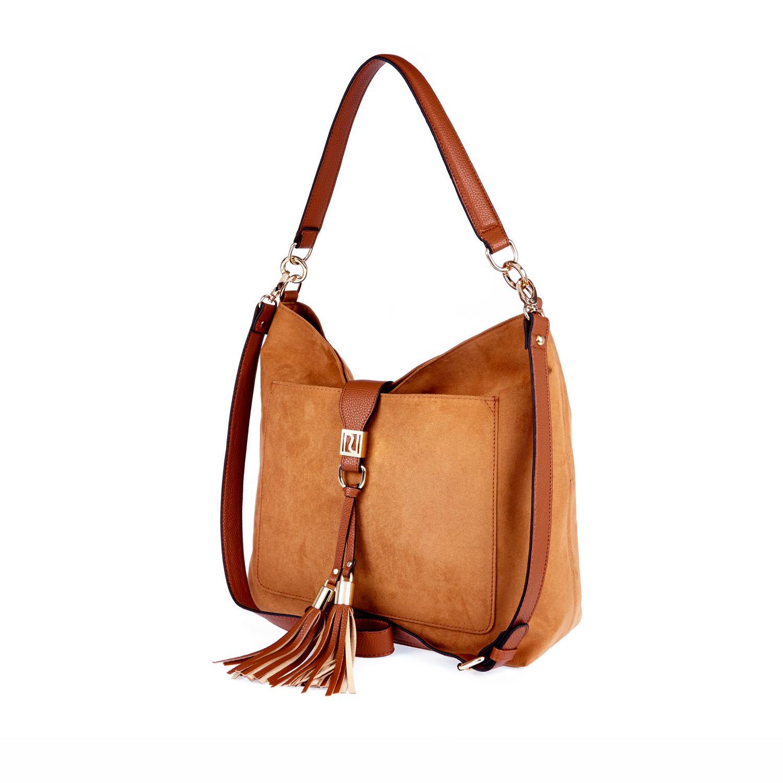 River island Tan Faux Suede Tassel Front Handbag in Natural | Lyst