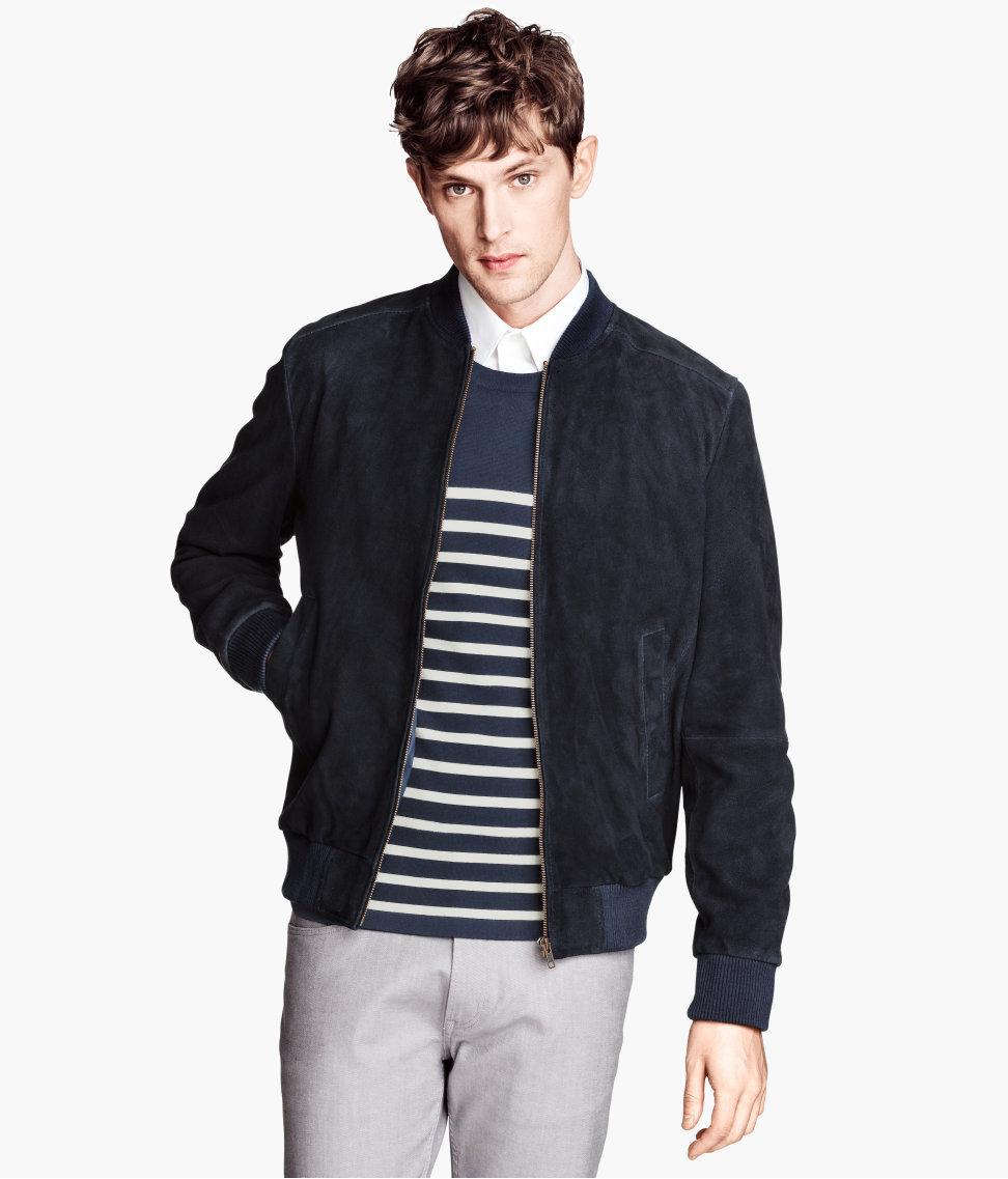H Amp M Suede Jacket In Blue For Men Dark Blue Lyst