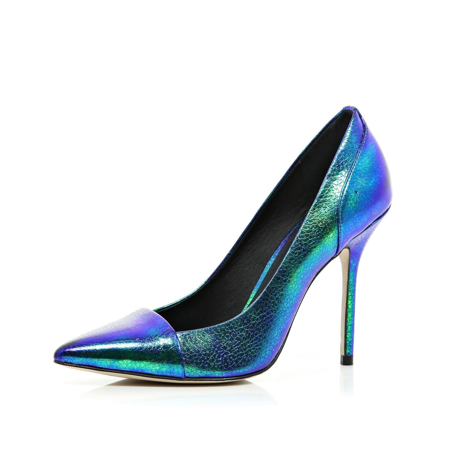 River Island Blue Iridescent Toe Cap Pointed Court Shoes