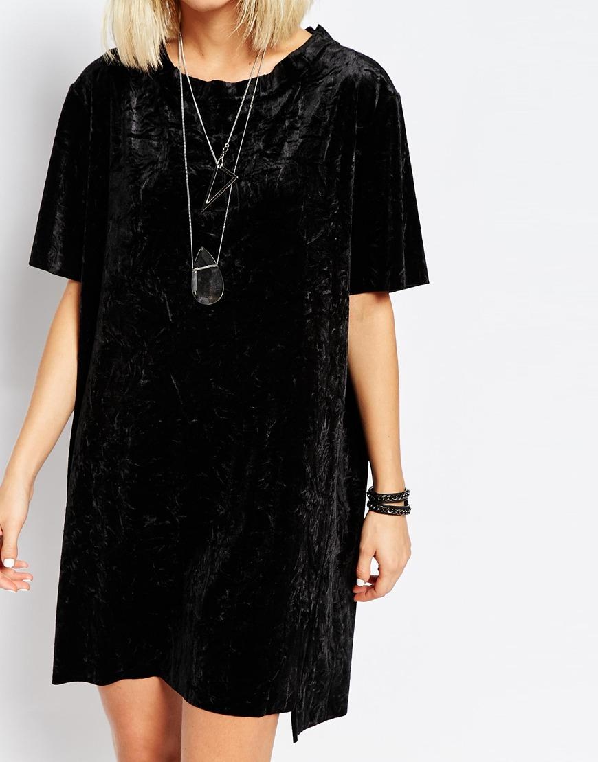 c762a529034d3 Cheap Monday Crushed Velvet T-shirt Dress in Black - Lyst
