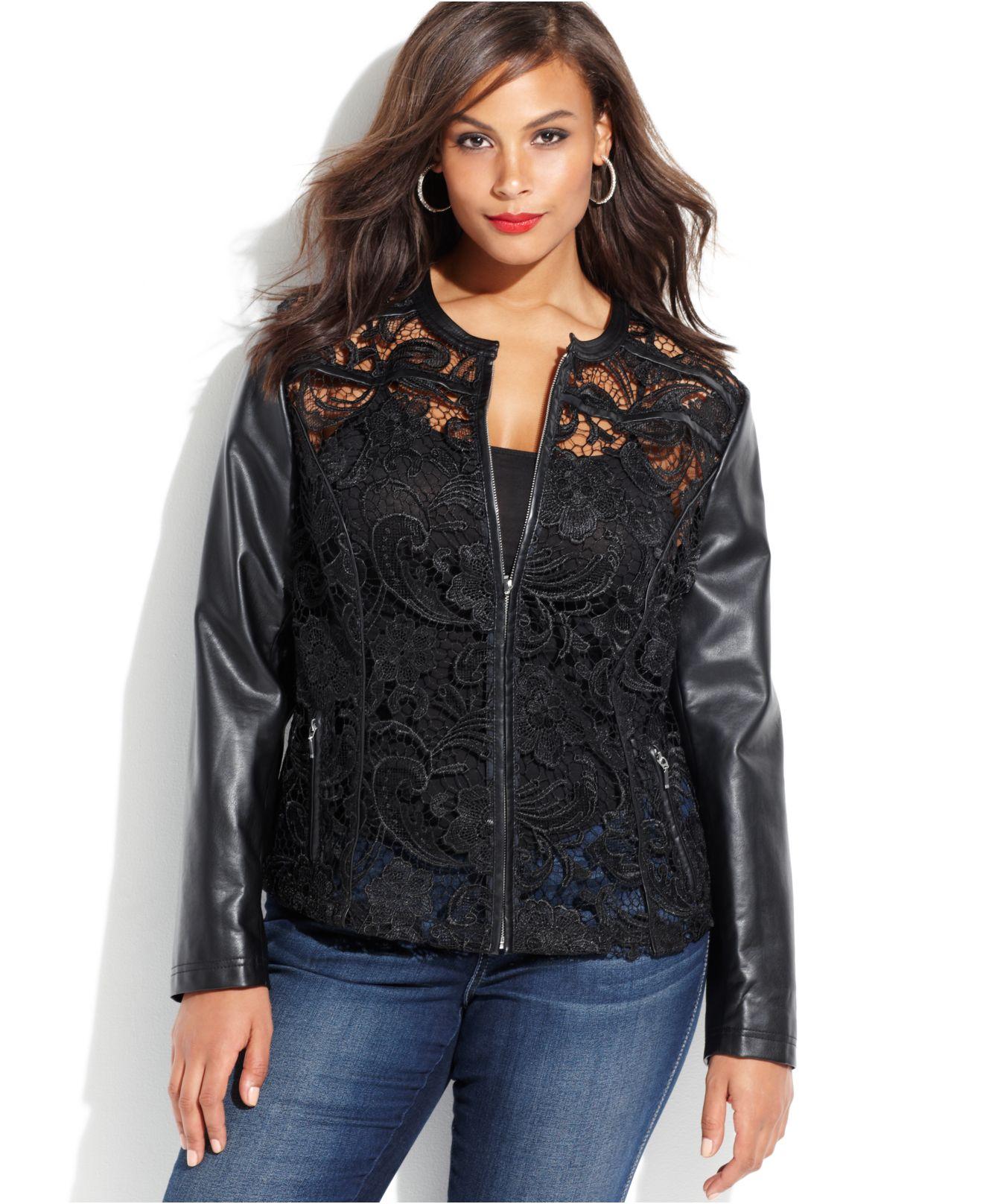 Inc international concepts Plus Size Faux-Leather Lace Moto Jacket ...