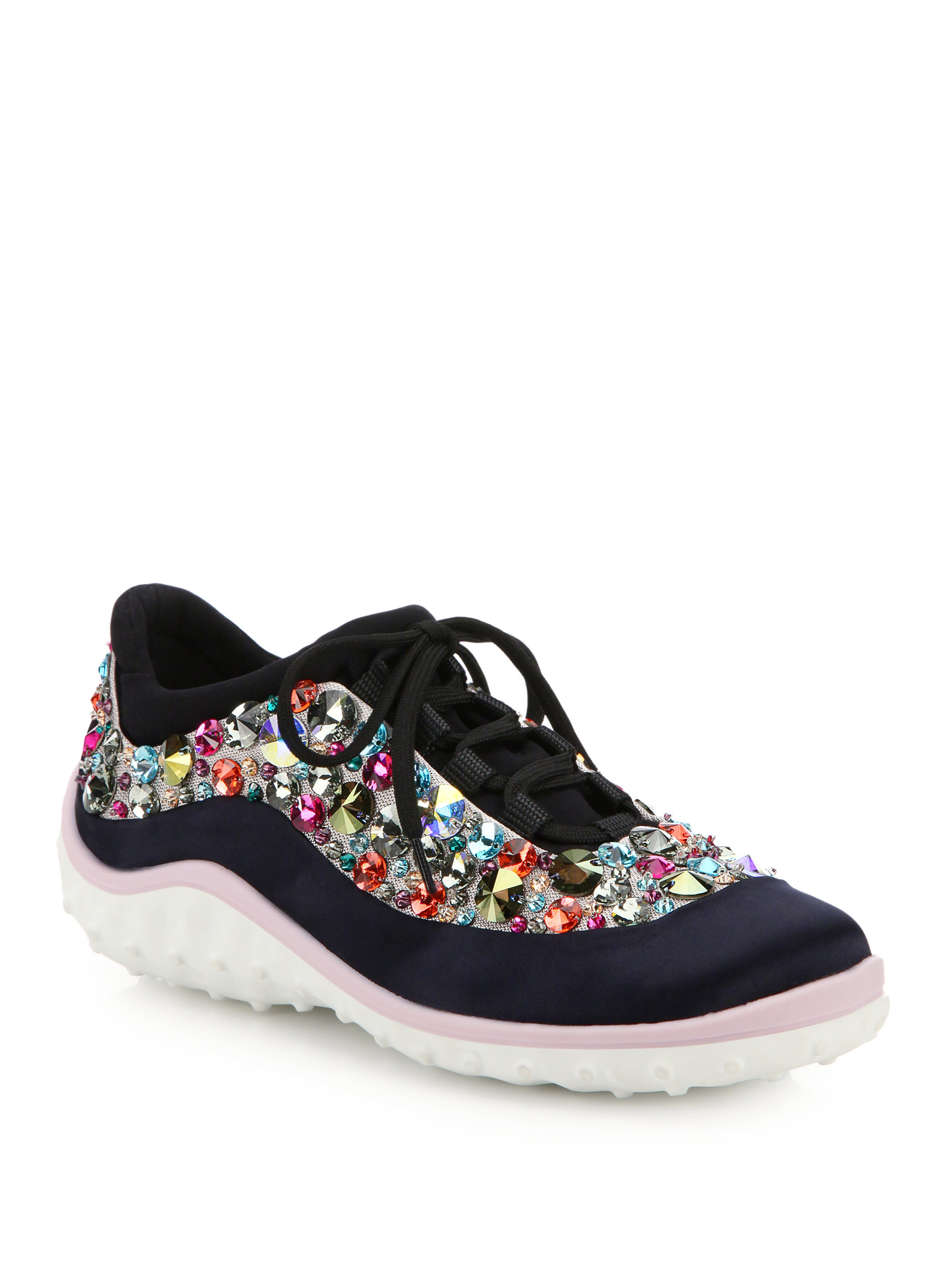 miu miu jeweled lace up sneakers in blue lyst. Black Bedroom Furniture Sets. Home Design Ideas