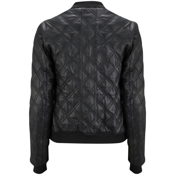 Lot78 Womens Quilted Leather Bomber Jacket in Black for Men | Lyst