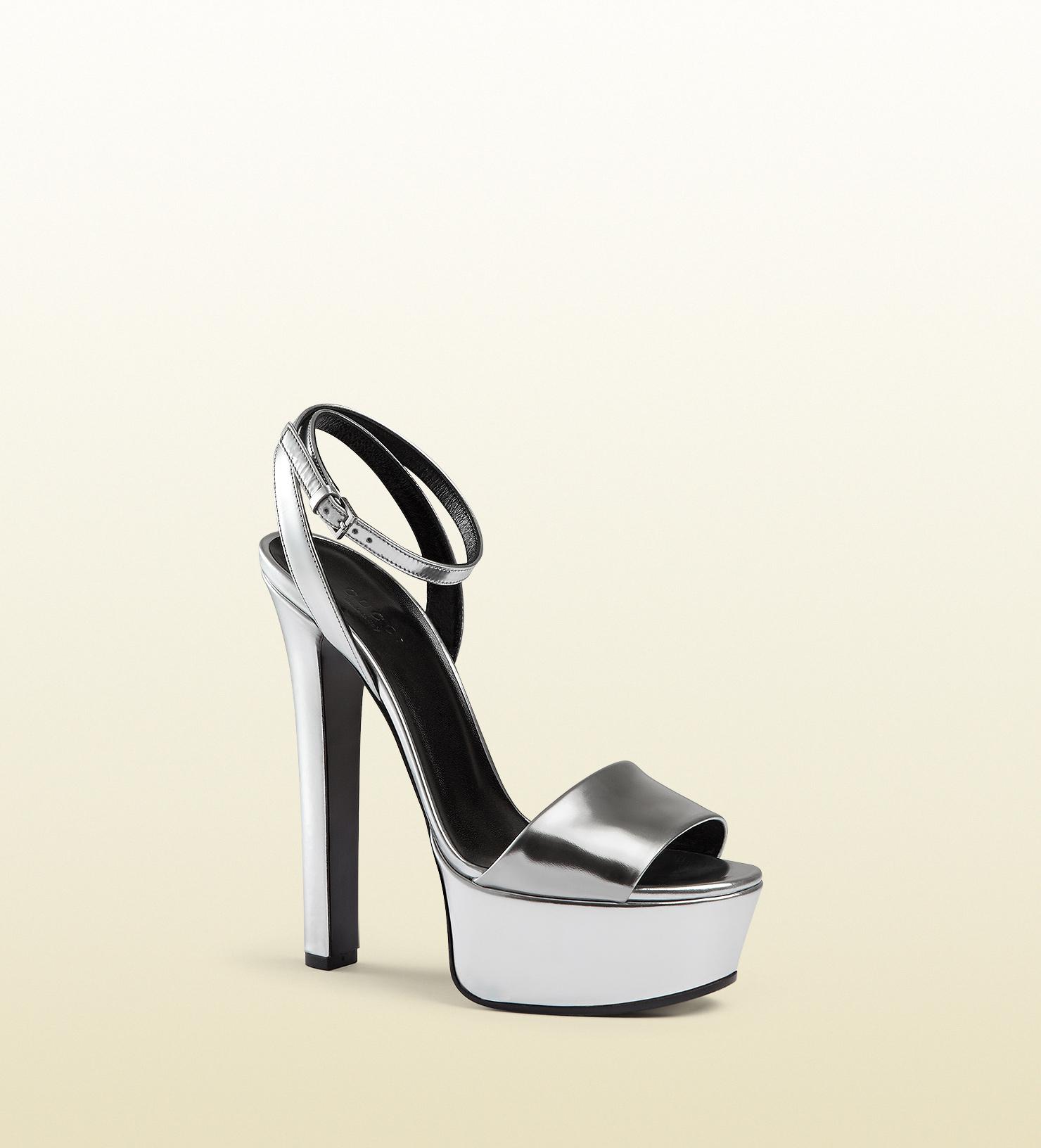 c5aa09878 Gucci Metallic Leather Platform Sandal in Metallic - Lyst