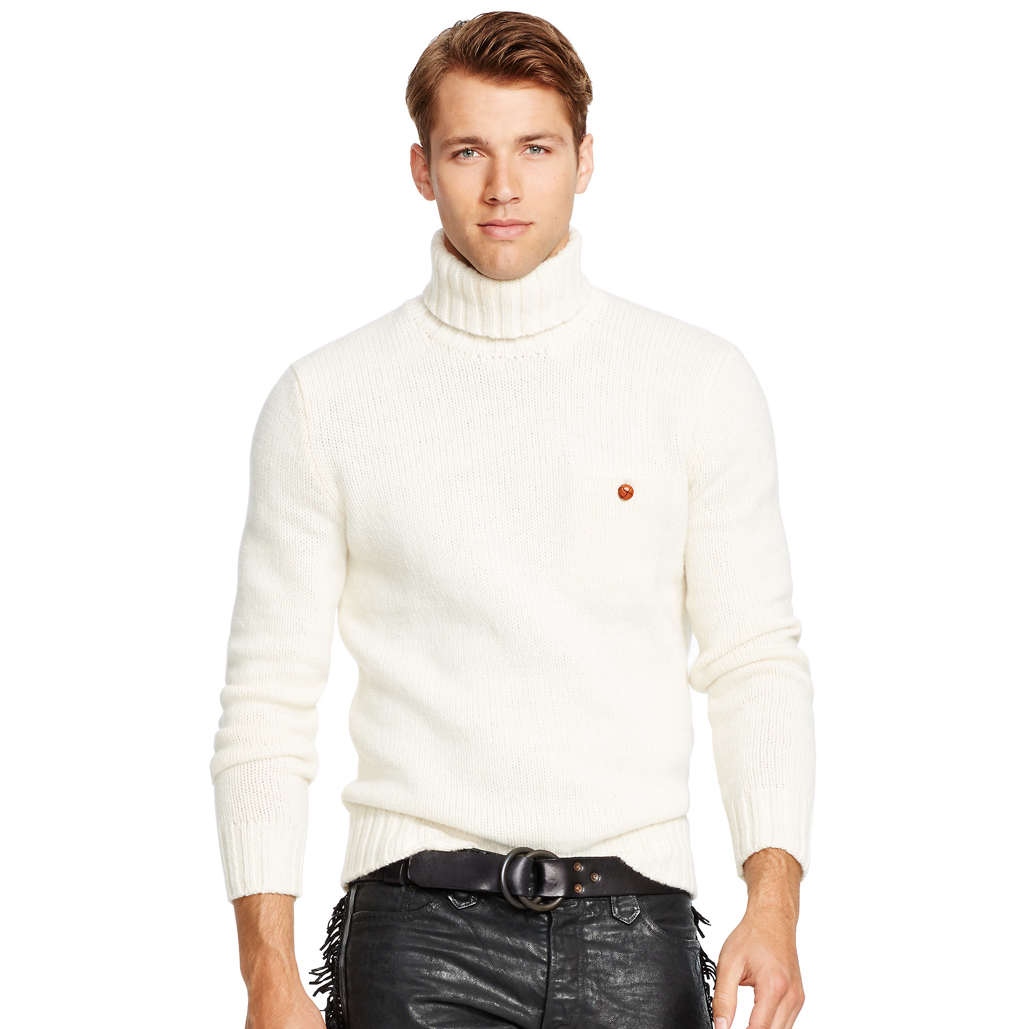 Lyst Polo Ralph Lauren Merino Wool Turtleneck Sweater In Natural