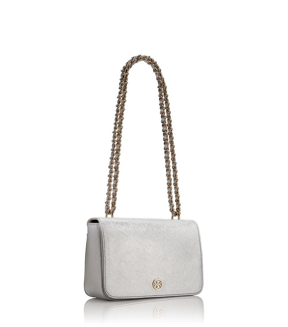 99416b22789 Tory Burch Robinson Metallic Adjustable Shoulder Bag in Metallic - Lyst